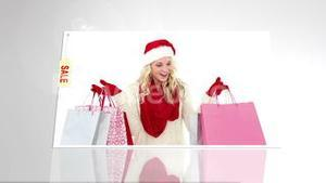 Festive blonde with sale shopping bags on white background