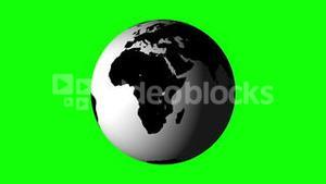 White earth spinning on green background