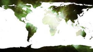 World map against shimmering green background