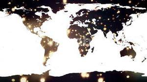 World map against yellow shimmering background