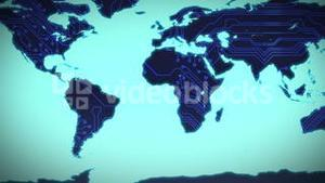 Circuit board world map on blue background