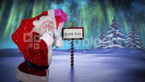 Santa delivering presents at the north pole