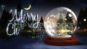 Christmas tree inside snow globe with magic greeting