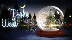 Christmas tree inside snow globe with magic greeting in german