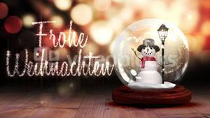 Snowman inside snow globe with magic greeting in german