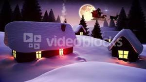 Santa flying over cute snowy village