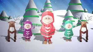 Cute christmas characters with greeting in french