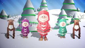 Cute christmas characters with greeting in spanish