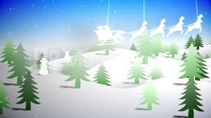 Cut out fir tree forest and flying santa with greeting