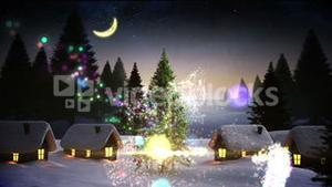Magic light swirling around christmas tree in village