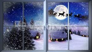 Santa flying past window in the snow