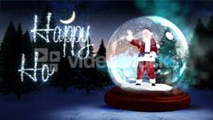 Happy holidays message with waving santa in snow globe