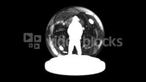 Waving santa in snow globe with alpha channel
