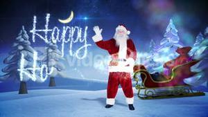 Santa and his sled with magical christmas greeting