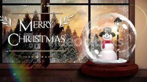 Merry christmas greeting with snow globe