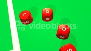 Rolling red dices against a bright casino background