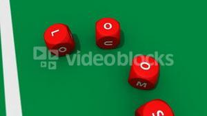 Red 3D dices rolling into a casino environment