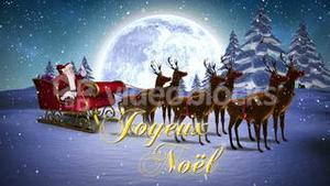 Santa waving in his sleigh with reindeer and greeting