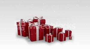 Appearing red christmas gifts on white background