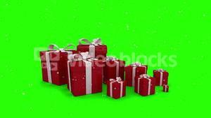 Red christmas presents appearing on green screen