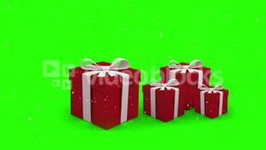 Christmas presents bouncing on green background