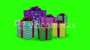 Christmas presents appearing on green background