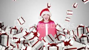 Festive little girl with falling christmas presents