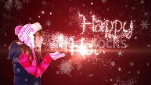 Festive little girl blowing magical christmas greeting