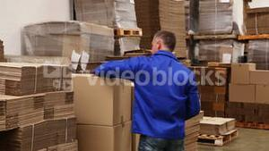 Warehouse worker preparing a shipment
