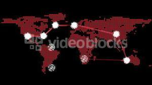Global connections theme in red and black
