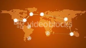 Global connections theme in orange