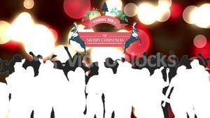 Merry christmas graphic with dancing people