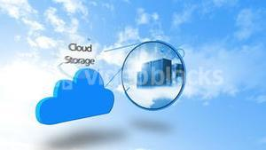 Cloud computing graphic against blue sky
