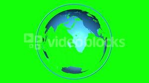 Blue globe spinning on green screen background