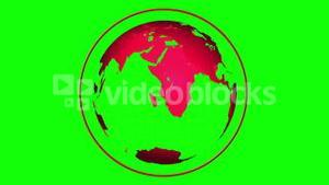 Red globe spinning on green background