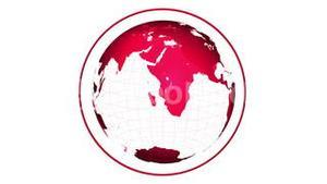 Red globe spinning on white background