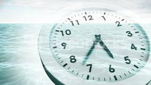 Clock ticking over sea animation