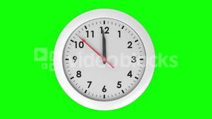 Clock ticking on green background