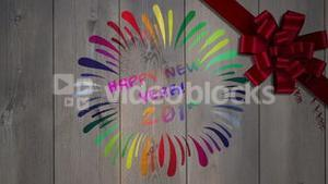 Happy new year message against wood with bow