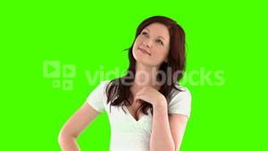 young woman thinking looking the top