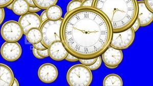 Falling clocks on blue background