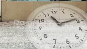 Ticking clock over busy street