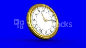 Ticking clock on blue background