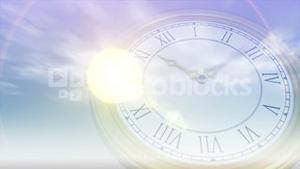 Moon and sun rising and falling with clock