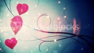 Shimmering hearts with copy space