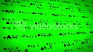 Stocks and shares on green background