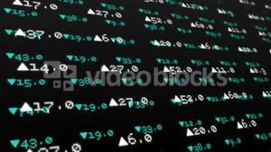 Stocks and shares on black background