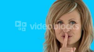 Fascinating woman doing shh sign