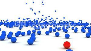 3d animation of balls falling down
