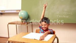 Cute schoolboy raising his hand to answer a question